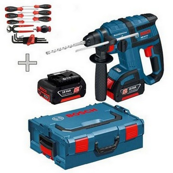 bosch gbh18v li 18v sds hammer drill 2 li ion batteries wiha tool set. Black Bedroom Furniture Sets. Home Design Ideas