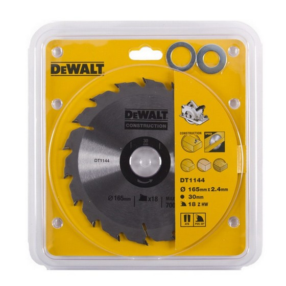 DEWALT DT1144-QZ SERIES 30 CIRCULAR SAW BLADE 165mm X 30mm Bore X 18 Teeth