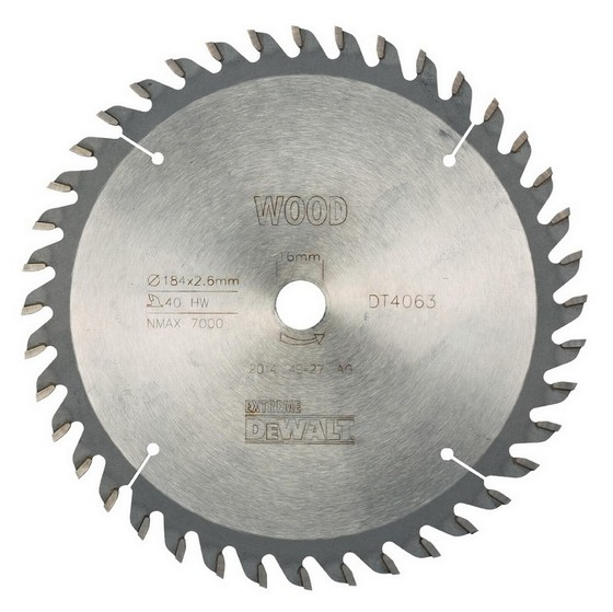 DEWALT DT4063-QZ SERIES 40 CIRCULAR SAW BLADE 184mm X 16mm Bore X 40 Teeth