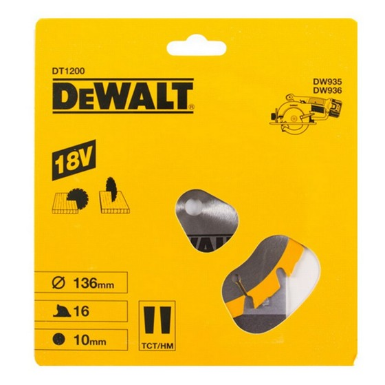 DEWALT DT1200-QZ CORDLESS TRIM SAW BLADE 136mm X 10mm Bore X 16 Teeth