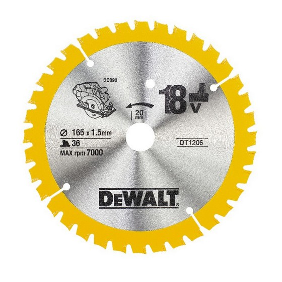 DEWALT DT1206-QZ CORDLESS TRIM SAW BLADE 165mm X 20mm Bore X 36 Teeth