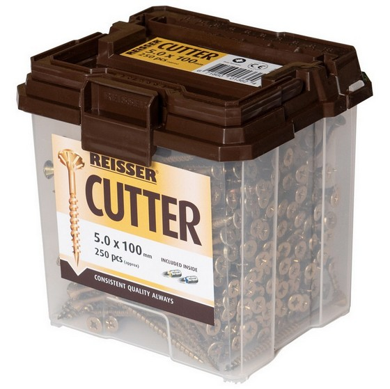 REISSER R2 CUTTER WOODSCREWS 5 x 60mm CSK TUB OF 500