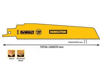 Dewalt DT2307-QZ DEMOLITION RECIP BLADES 228mm x 4.2mm PACK 5