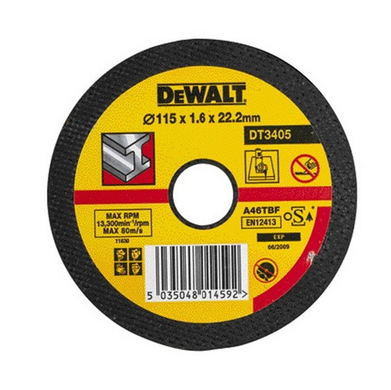 Dewalt DT3405-QZ 115x1.6x22.2mm Flat Metal Cutting