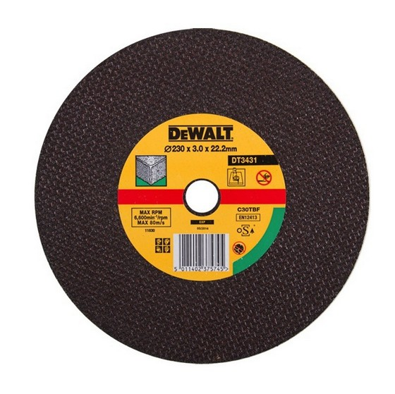 Dewalt DT3431-QZ 230x3.0x22.2mm Flat Stone Cutting Disc
