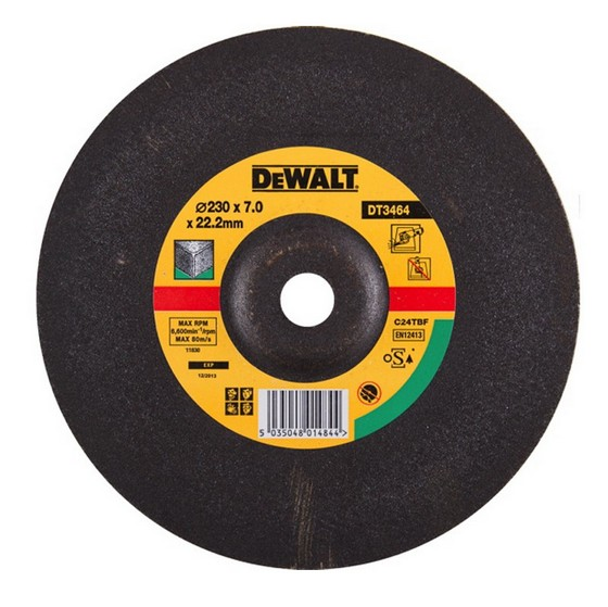 Dewalt DT3464-QZ 230x7.0x22.2mm Depressed Centre Stone Grinding Disc