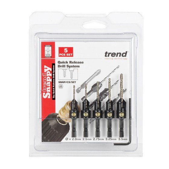 TREND SNAP/CS/SET SNAPPY COUNTERSINK DRILLBIT SET 5 PIECE