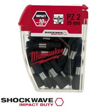 MILWAUKEE 4932352553 SHOCKWAVE PZ2 IMPACT DUTY SCREW BIT (PACK 25)