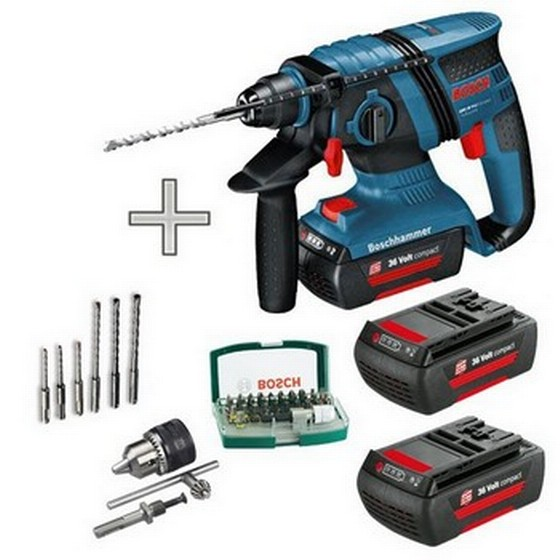 BOSCH GBH36V-LICP 36V SDS ROTARY HAMMER DRILL 3 X 1.3ah Li-ion Batteries + Accessories Shown
