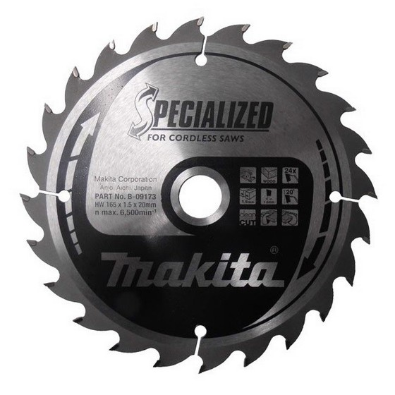 MAKITA B-09173 165mm X 20mm X 24 TOOTH SPECIALIZED CIRCULAR SAW BLADE