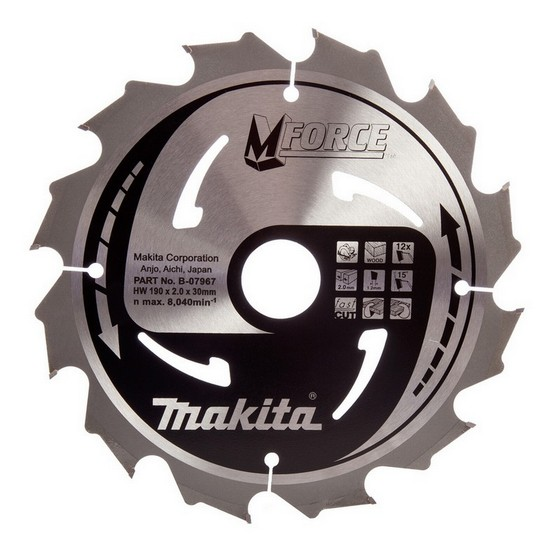 Makita B-07967 M Force Circular Saw Blade 190mm x 30mm x 12 Tooth