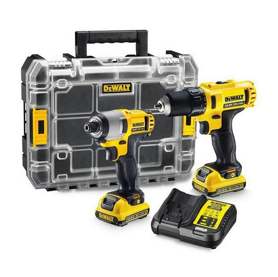 DEWALT DCK211D2T 10.8V IMPACT DRIVER & DRILL DRIVER TWIN PACK WITH 2X 2.0AH LI-ION BATTERIES + FREE STANLEY TOOL KIT