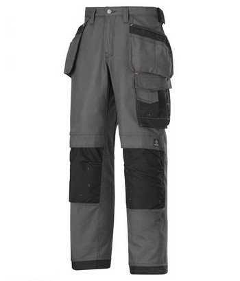 SNICKERS CANVAS+ TROUSERS & HOLSTERS BLACK / GREY 3214 5804 (30 INCH LEG)