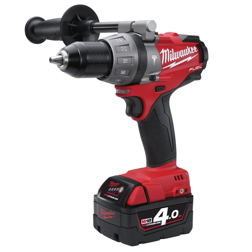 MILWAUKEE M18 CPD-402C FUEL 18V COMBI HAMMER DRILL 2 X 4.0ah RED Li-ion BATTERIES