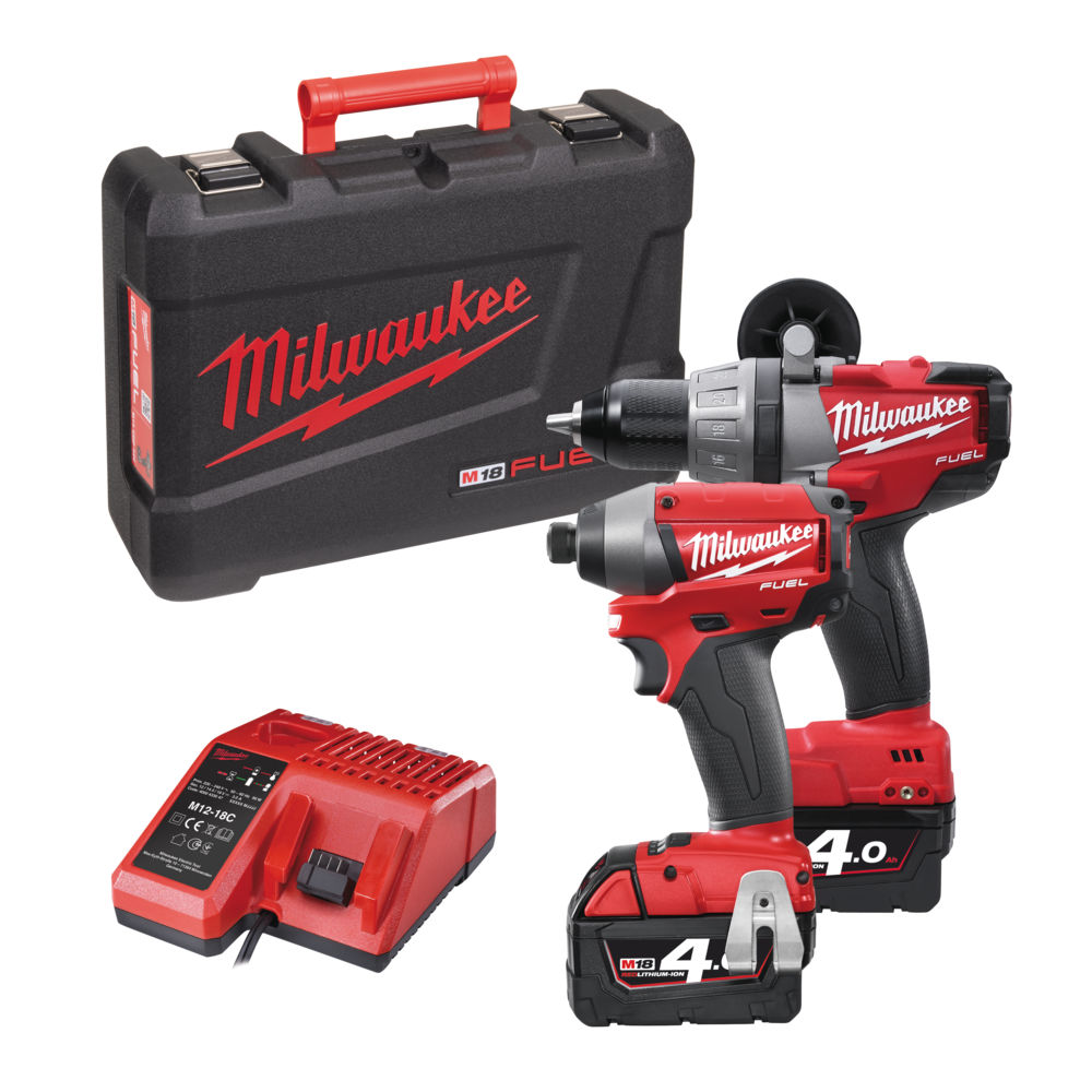 MILWAUKEE M18 PP2A-402C FUEL 18V BRUSHLESS COMBI HAMMER DRILL & IMPACT DRIVER 2 X 4.0ah RED Li-ion BATTERIES