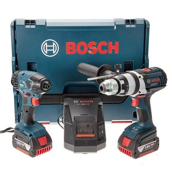 BOSCH GSB18 VE2-LI + GDR18V 18V ROBUST TWIN PACK 2x 4.0AH LI-ION BATTERIES SUPPLIED IN L-BOXX