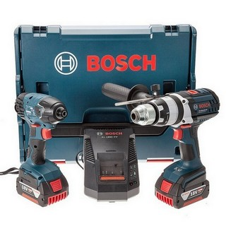 BOSCH GSB18 VE2-LI + GDR18 V-EC 18V ROBUST TWIN PACK 2x 4.0AH LI-ION BATTERIES SUPPLIED IN L-BOXX
