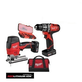 MILWAUKEE M12SET2D-32 12V TWIN PACK (COMBI & JIGSAW) 2 x 3.0ah RED Li-ion BATTERIES