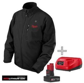 MILWAUKEE M12HJ-0 BLACK HEATED JACKET 1 x BATTERY & CHARGER (X Large)