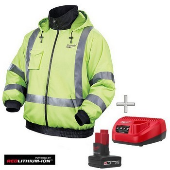 MILWAUKEE M12HJ-0 HI VISIBILITY HEATED JACKET 1 x BATTERY & CHARGER (Large)