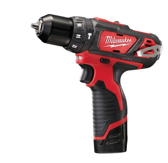 MILWAUKEE M12BPD-202C M12 12V COMPACT COMBI HAMMER DRILL WITH 2X 2.0AH LI-ION BATTERIES