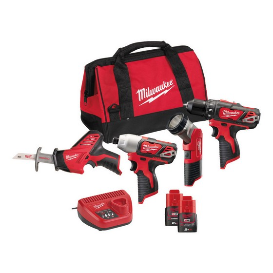 Milwaukee M12BPP4A-202C M12 12V 4 Piece Kit With 2x2.0ah Red Li-ion Batteries
