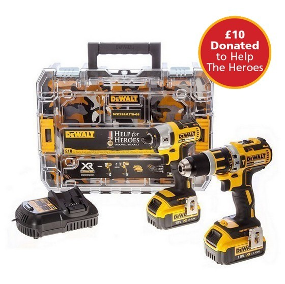 DEWALT DCK259M2TH HELP FOR HEROES 18V XR BRUSHLESS TWIN PACK WITH 2X 4.0AH LI-ION BATTERIES + FREE STANLEY TOOL KIT