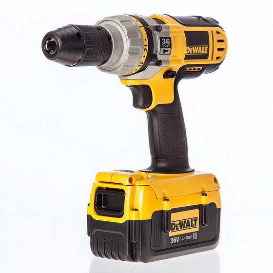DEWALT DC901M2 36V HAMMER DRILL WITH 2X 4.0AH BATTERIES AND CHARGER