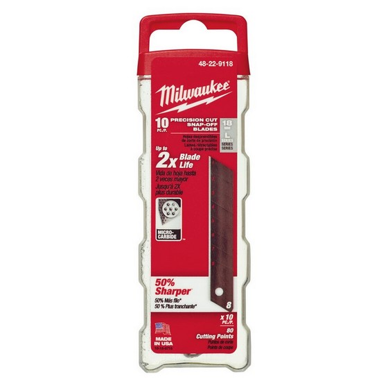 MILWAUKEE 48229118 PACK OF 10 SNAP KNIFE BLADES 18MM