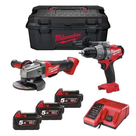 MILWAUKEE M18SET2M-503W 18V BRUSHLESS COMBI & GRINDER WITH 3X 5.0AH LI-ION BATTERIES