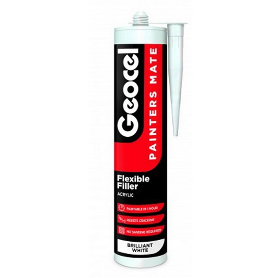 GEOCEL 2939444 PAINTERS MATE FLEXIBLE ACRYLIC DECORATORS FILLER 310ML BRILLIANT WHITE