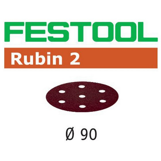 FESTOOL 499079 PACK OF 50 RUBIN 2 SANDING DISCS P80 GRIT 90MM