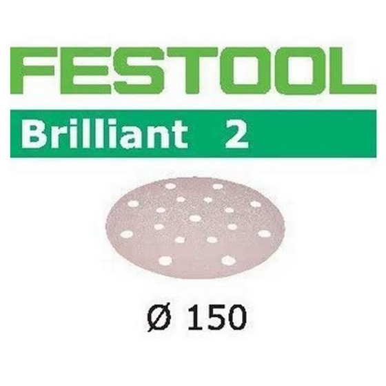 FESTOOL 496580 PACK OF 10 BRILLIANT 2 SANDING DISCS P60 GRIT 150MM