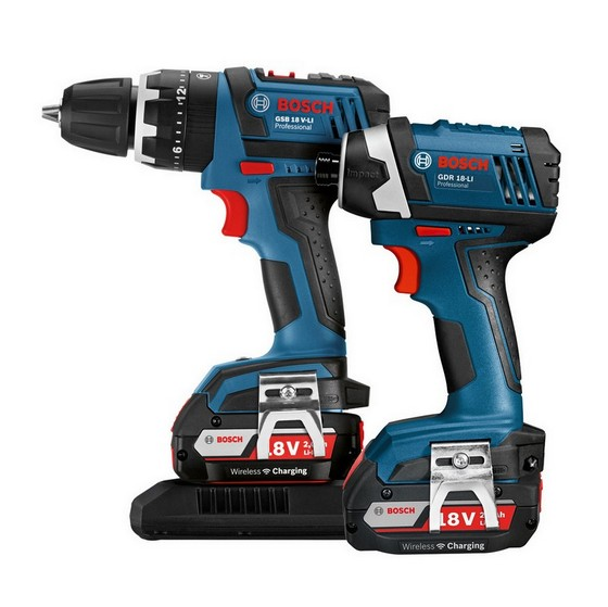 BOSCH GSB 18 V-LI COMBI + GDR 18-LI IMPACT DRIVER WIRELESS CHARGING TWIN PACK 2 x 2.0ah Li-ion BATTERIES
