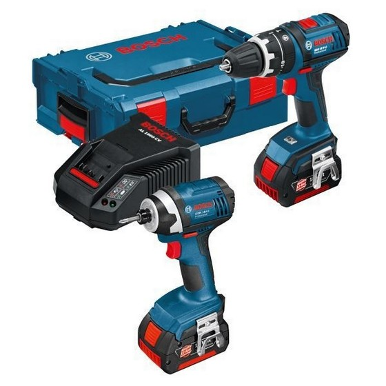 BOSCH GSB 18-2-LI + GDR 18-LI TWIN PACK WITH 2X 1.5AH LI-ION BATTERIES AND L-BOXX CASE