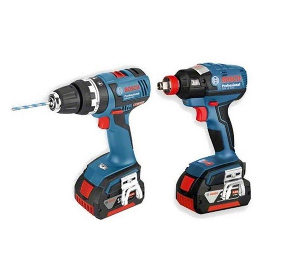 BOSCH GSB 18 V-EC COMBI + GDX 18 V-EC IMPACT WRENCH WITH 2X 4.0AH LI-ION BATTERIES + L-BOXX CASE
