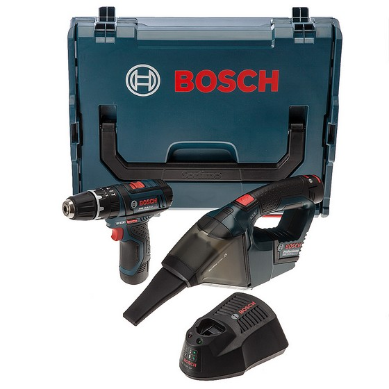 BOSCH GSB 10.8-2-LI COMBI + GAS 10.8V-LI MINI VAC TWIN PACK WITH 2X 2.0AH LI-ION BATTERIES