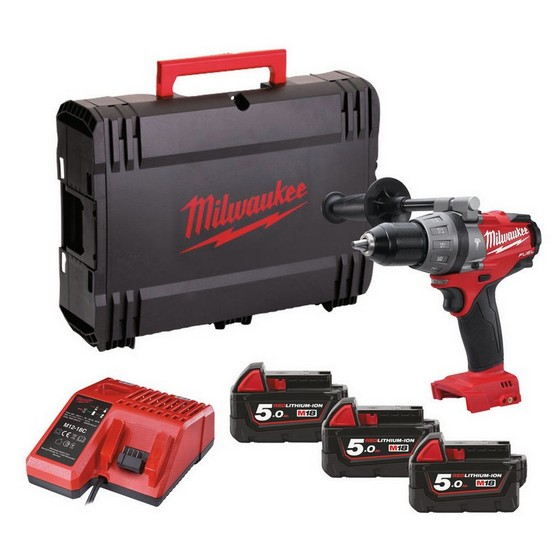 MILWAUKEE M18 SET1-503 18V BRUSHLESS CPD COMBI HAMMER DRILL WITH 3X 5.0AH LI-ION BATTERIES