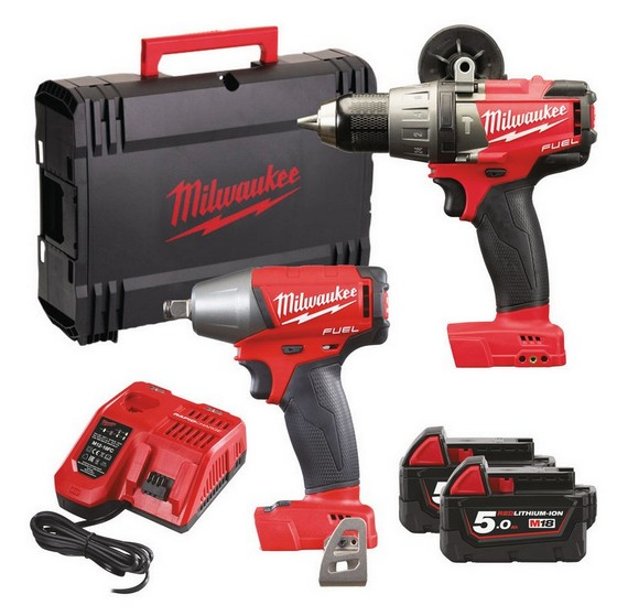 MILWAUKEE M18 FPP2B-502X BRUSHLESS FUEL 2 TWIN PACK WITH 2X 5.0AH LI-ION BATTERIES + FREE JACKET
