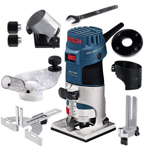 BOSCH GKF600 PALM ROUTER 240V (With Accessories Shown)