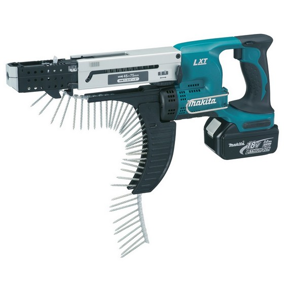 MAKITA DFR750RME 18V 75MM AUTO-FEED SCREWDRIVER 2 X 4.0ah Li-ion BATTERIES + 2000 75mm SCREWS