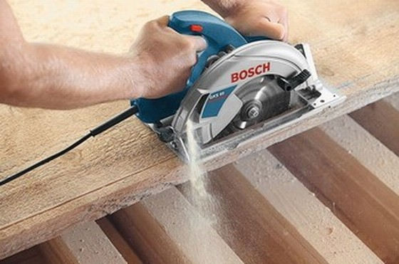 BOSCH GKS65 190mm CIRCULAR SAW 110V + 1.1m GUIDE RAIL IN L-BOXX CASE