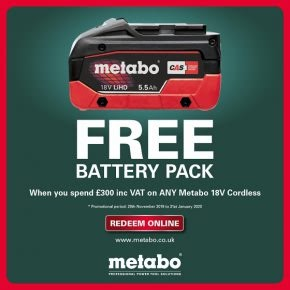 Metabo free battery promotion, redeem yours!