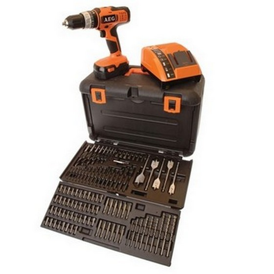 aeg 18v combi drill with kit box containing 100 accessories. Black Bedroom Furniture Sets. Home Design Ideas