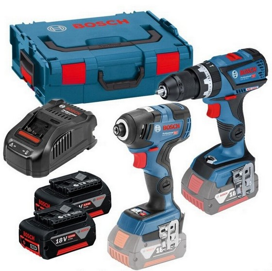 BOSCH 06019G4172 18V BRUSHLESS COMBI & IMPACT DRIVER WITH 2 x BATTERIES, CHARGER IN L-BOXX