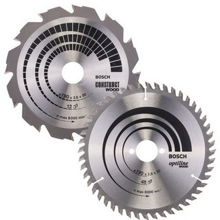 BOSCH 0615997462 TWIN PACK CIRCULAR SAW BLADES 190MM