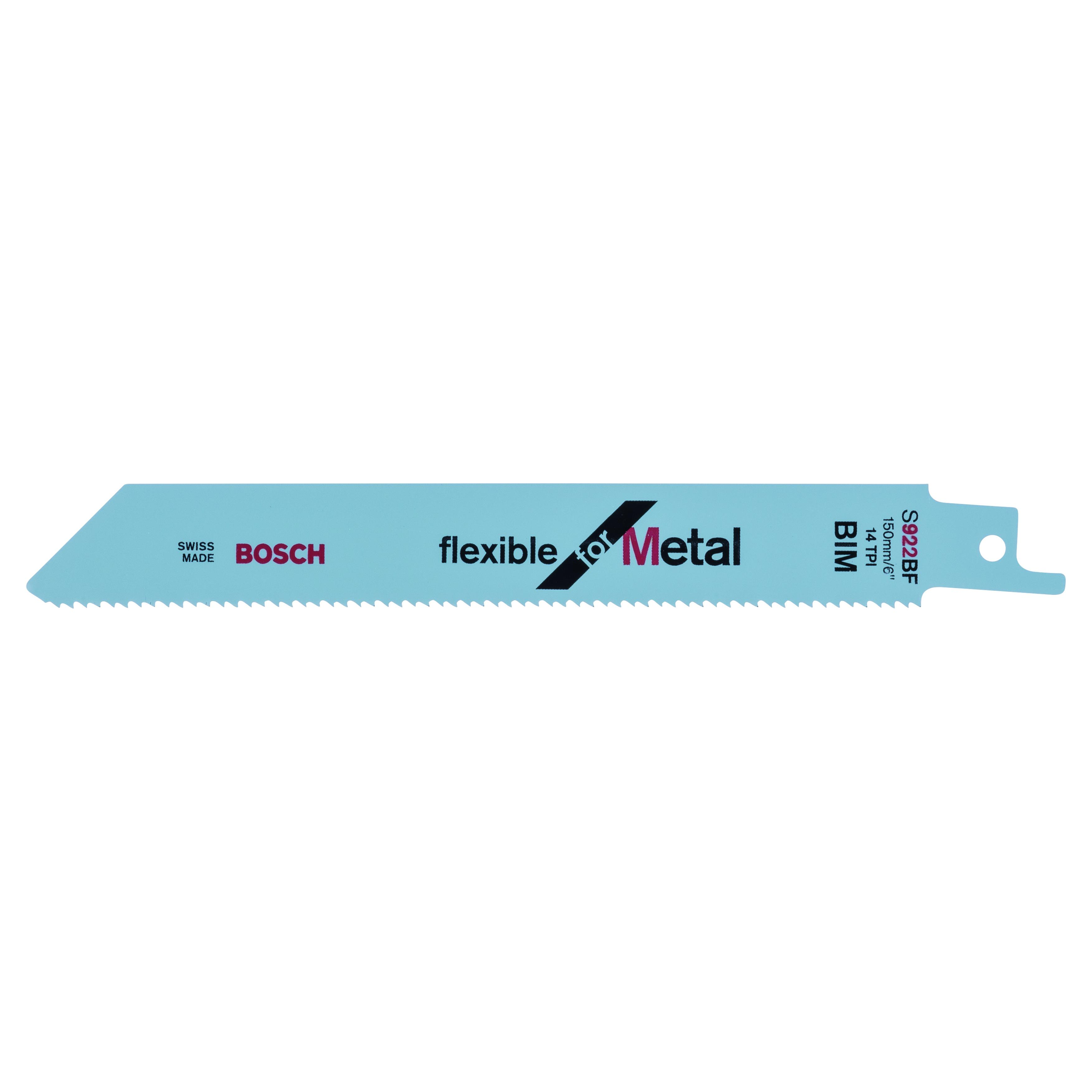 BOSCH 2608656014 S922 BF SABRE SAW BLADES - FLEXIBLE FOR METAL (PACK OF 5)