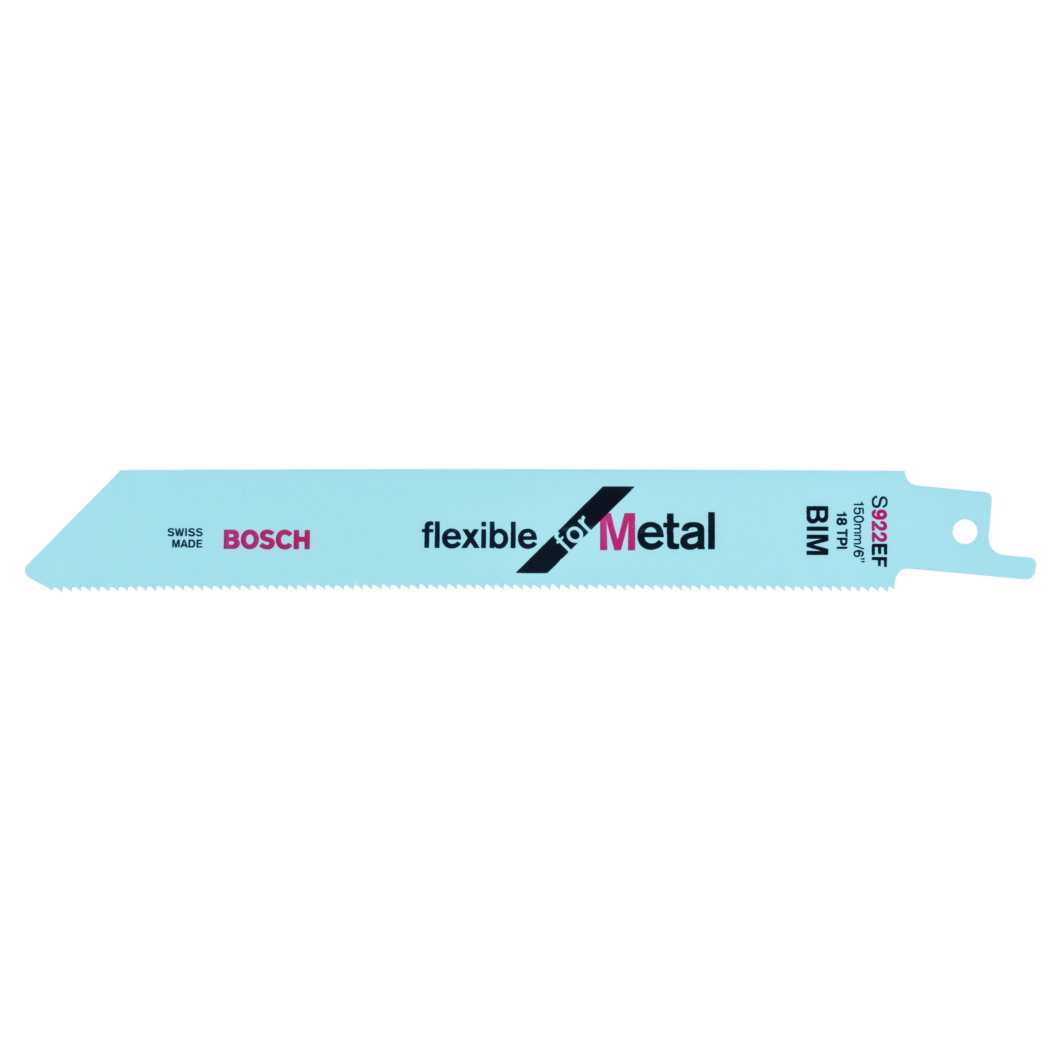BOSCH 2608656015 S922 EF SABRE SAW BLADES - FLEXIBLE FOR METAL (PACK OF 5)