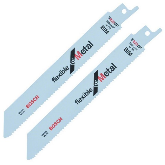 Bosch 2608656037 Pack Of 2 S922BF Flexible Metal Sabresaw Blades 3-8mm