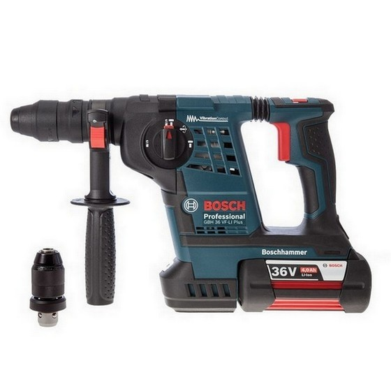 bosch gbh36vf li plus 36v sds hammer drill with 2x li ion batteries. Black Bedroom Furniture Sets. Home Design Ideas